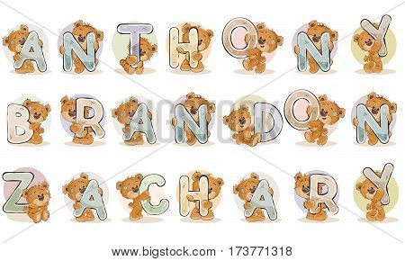 Vector illustration lettering type design. Names for boys Anthony, Brandon, Zachary made decorative letters with teddy bears