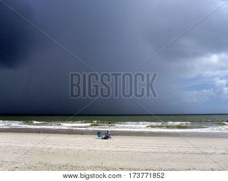 hurricane off the coast Atlantic Ocean rain storms