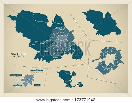 Modern City Map - Sheffield Complette Overview Illustration