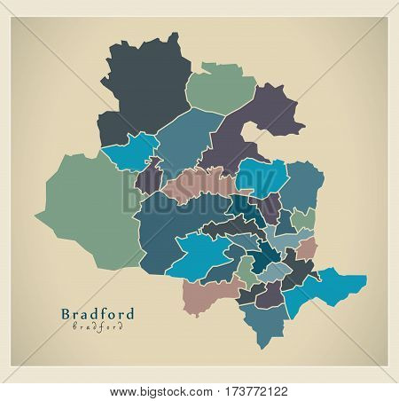Modern City Map - Bradford With Coloured Boroughs Illustration