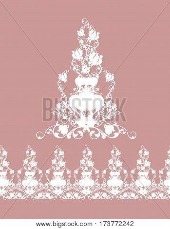 seamless border made of rose flowers in vases - white silhouette design of vintage garden