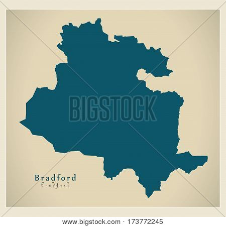 Modern City Map - Bradford England Illustration