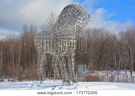 BROMONT QUEBEC CANADA 02 20 2017: By Mathieu Isabelle new statue in Bromont. The home of the Parc equestre Olympique de Bromont, equestrian olympic park.