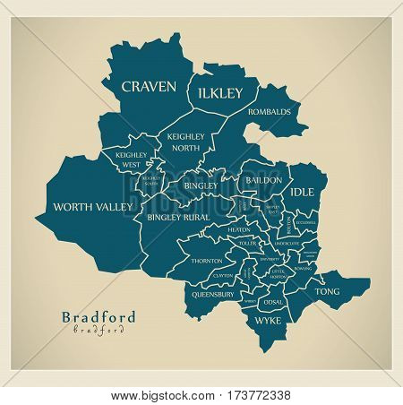 Modern City Map - Bradford With Labelled Boroughs Illustration