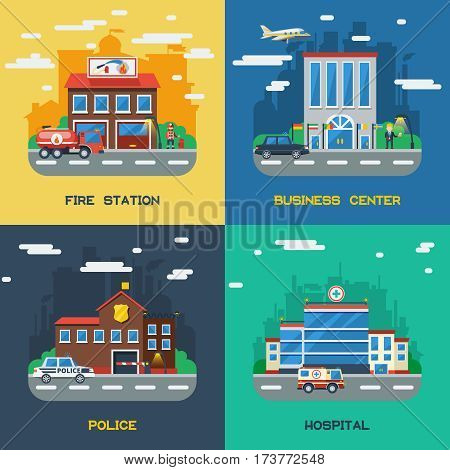 Government buildings 2x2 flat design concept set of fire station business center police and hospital vector illustration