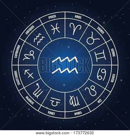 Aquarius astrology sing in zodiac circle on the background of starry sky set of astrology sings