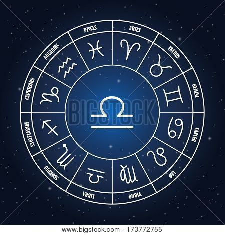 Libra astrology sing in zodiac circle on the background of starry sky set of astrology sings