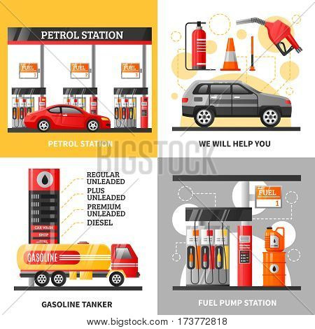 Gas and petrol station 2x2 design concept with petrol station gasoline tanker and fuel pump station flat vector illustration