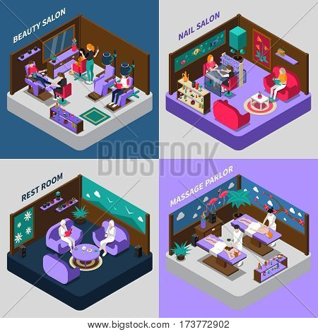 Beauty and health procedures nail salon massage parlor and rest room isometric compositions isolated vector illustration