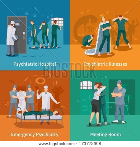 Psychiatric illnesses concept icons set with emergency psychiatry symbols flat isolated vector illustration