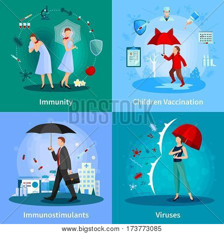 Immune system concept with people under umbrellas madication and vaccination viruses and bacteria isolated vector illustration