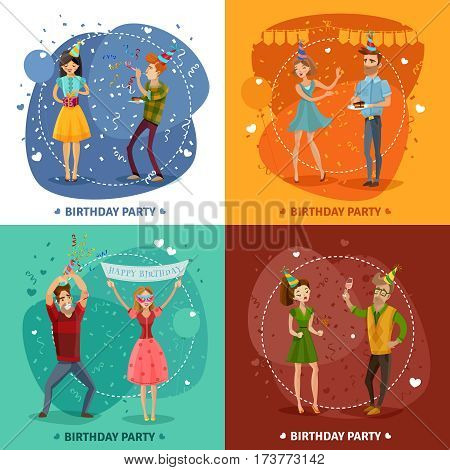 Birthday party 4 festive icons square with happy celebrating couples on colorful background isolated vector illustration