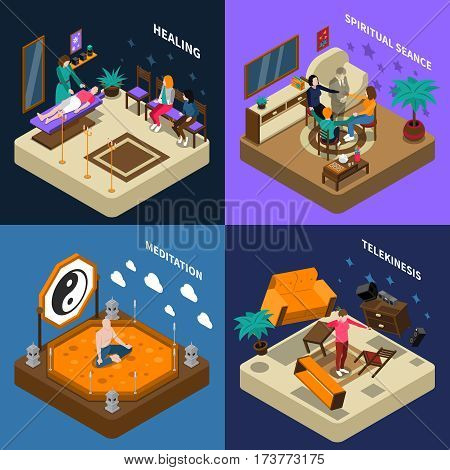Paranormal abilities isometric compositions with people healing and calling of spirit telekinesis and meditation isolated vector illustration