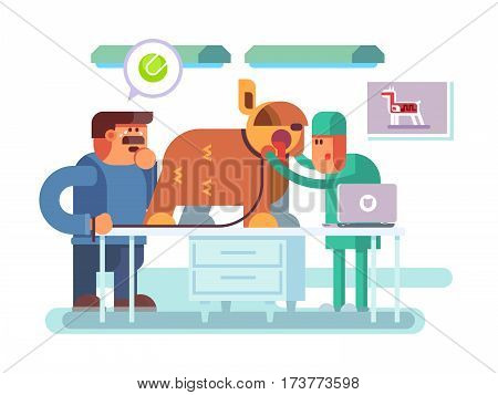 Veterinary clinic visitor and doctor. Animal pet, health and medicine, medical doctor, care dog, vector illustration