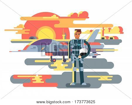 Military pilot man. Aviation and aircraft, airplane and aviator, airman job, vector illustration