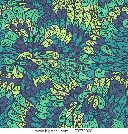 Seamless floral vintage green and blue hand drawn doodle pattern