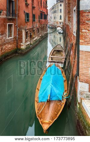 Boats on a canal in Venice, Italy