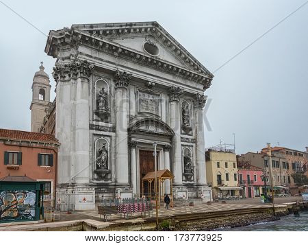 VENICE, ITALY - February 16, 2017 at Santa Maria del Rosario (Meaning St Mary of the Rosary), commonly known as I Gesuati on the Giudecca Canal