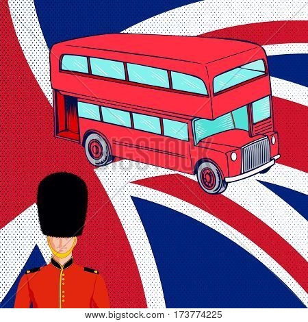 Double-decker red bus Royal British guard on background of the flag United Kingdom.