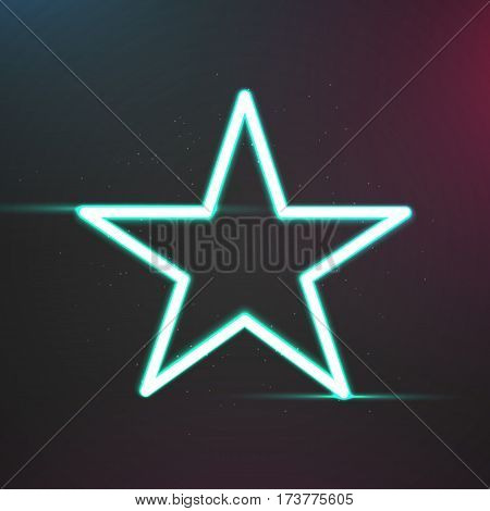 Star with light effects form a blue glowing frame on dark background. Vector design illustration