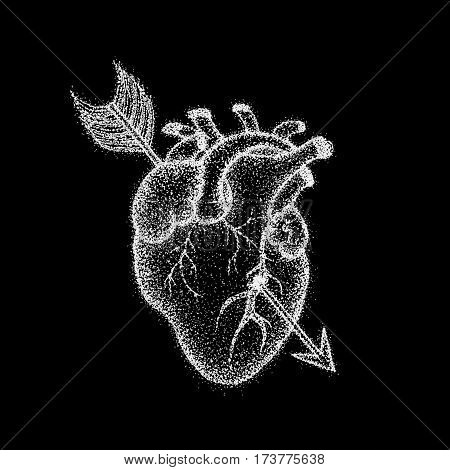 Heart With Arrow Over Black