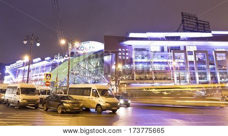 MOSCOW - FEBRAURY 20 2014: trading centre European at night has been built in 2006 year.