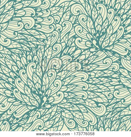 Seamless floral monochrome blue and beige doodle pattern