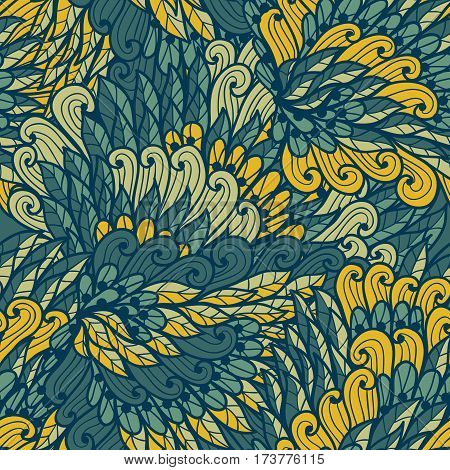 Seamless floral vintage yellow and blue hand drawn doodle pattern