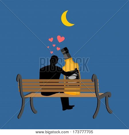 Lover Alcohol Drink. Man And Bottle Of Whiskey Sitting On Bench. Lovers In Romantic Date. Alcoholic