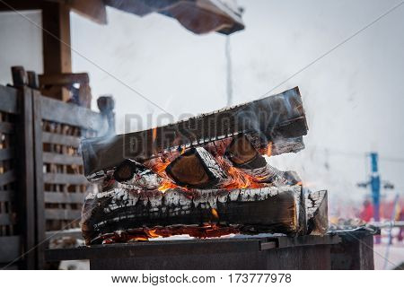 BBQ bonfire logs ski resort. South Urals.