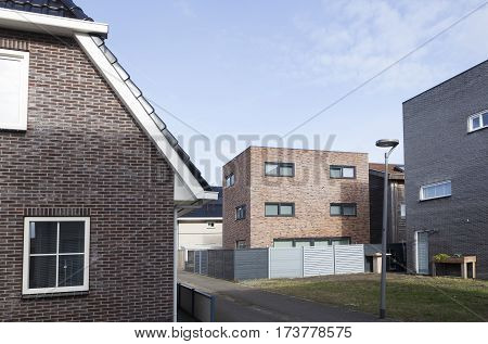 Almere, Netherlands, 21 february 2017: new different style houses in homerusbuurt in Almere Poort in the netherlands