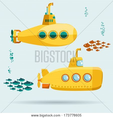 Yellow Submarine undersea with fishes, Flat design. Vector