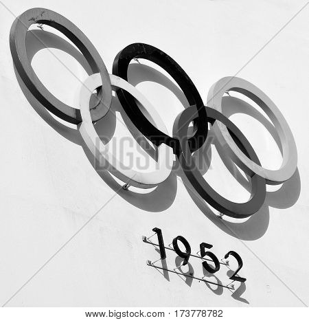 HELSINKI FINLAND 09 25 2015: Olympic rings of the Olympiastadion (Olimpic stadium), located in the Toolo district the largest stadium in the country centre of activities in the 1952 Summer Olympics
