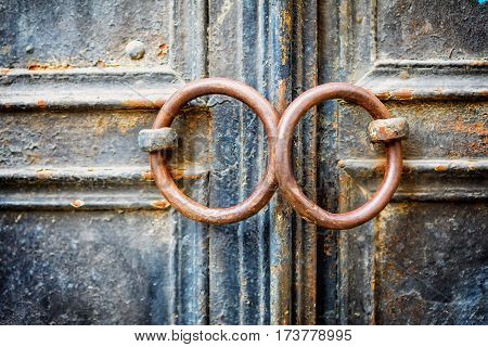 Closeup Of Metal Vintage Door With Metal Door Handle