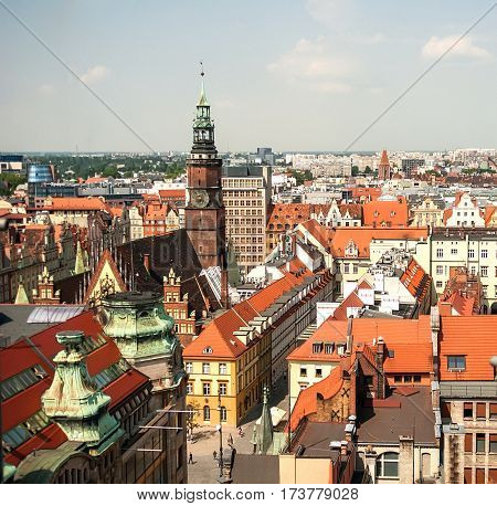 Aerial view of old town and Town Hall from St. Mary Magdalene Church in Wroclaw Poland