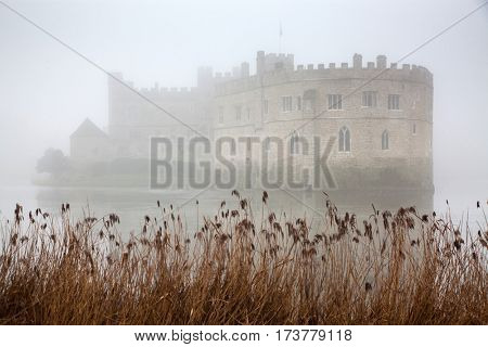 thick fog surrounding Leeds Castle and moat, England