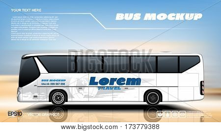 Digital vector white realistic vehicle bus car mockup, ready for your logo and design . Template for advertising and corporate identity. Travel bus. Illustrated vector. Blank transportation. Mockup