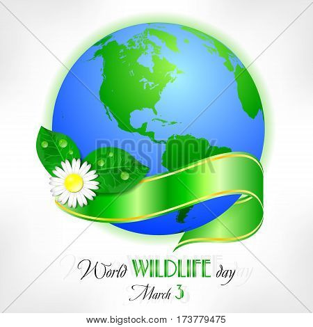 Earth globe with camomiles and green ribbon on white. World wild life day in March 3. Also suitable for Earth day and Hour. Vector illustration