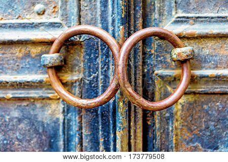 Closeup Of Metal Vintage Door With Metal Door Handle