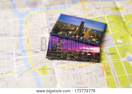 Chicago travel memories on a city map