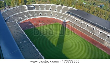 HELSINKI FINLAND SEPTEMBER 25 2015: Inside of the Olympiastadion (Olimpic stadium), located in the Toolo district the largest stadium in the country centre of activities in the 1952 Summer Olympics