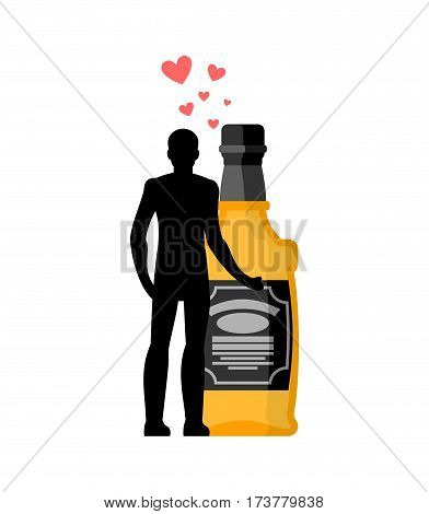 Lover Alcohol Drink. Man And Bottle Of Whiskey Embrace. Lovers Cuddle. Romantic Date. Alcoholic Life
