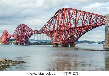 Firth of Forth rail bridge in Edinburgh, Scotland UK