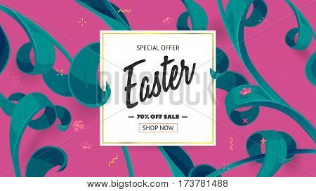 Festive frame decorated with abstract floral elements. Limited offer 70 percent off. Special design for Mother's day, 8 March and Easter. Vector card with purple background