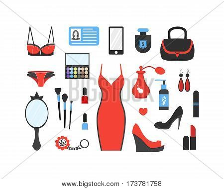 Woman's things set. Girl accessories icons collection of shoes jewelry perfume cosmetics mirror dress underwear. Make-up things. Modern flat design. Vector illustration on white background.