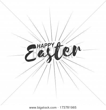 Happy Easter inscription with rays of blast isolated on white background. Vector illustration.