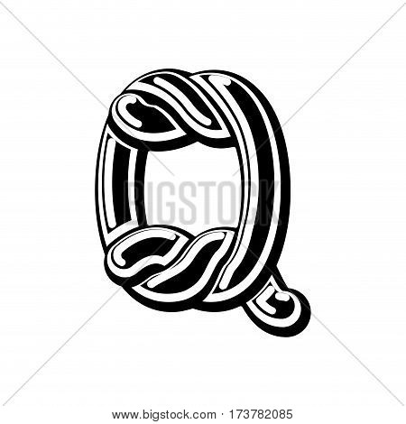 Letter Q Celtic Font. Norse Medieval Ornament Abc. Traditional Ancient Manuscripts Alphabet