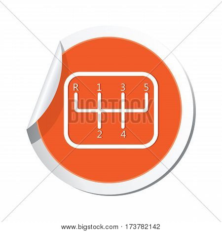 Car service. Transmission iconon the sticker. Car with stick shift