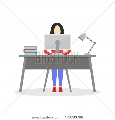 Girl sitting at desk with computer lamp and books. Business woman working in office. Employee working day. Character design. Trendy modern flat design. Vector illustration isolated on white.