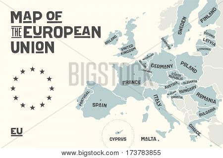 Poster map of the European Union with country names and capitals. Print map of EU for web and polygraphy, on business, ecomomic, political, Brexit and geography themes. Vector Illustration poster